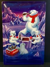 COCA COLA Bears Chess Vintage Metal Wall Sign 3D Embossed ~COKE