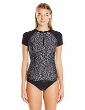 Calvin Klein Women's Space Dye Half-Zip Short Sleeve Rashguard Sz XS (i15)