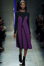 Bottega Veneta $4.2K Fall'14 Runway Purple Black Colorblock Dress 42IT/4-6US