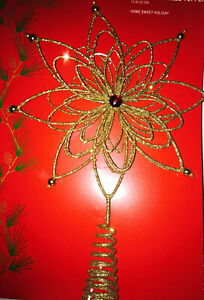 13 In Gold  Poinsettia Tree Topper