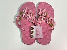 NEW Selini Action Girls Pink FLOWER FLIP FLOPS SEL13-20 Sz Eu 28 US 10.5 RTL $50
