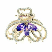 USA HAIR CLAW CLIP use Swarovski Crystal Hairpin Elegant Unique Gold Purple K10