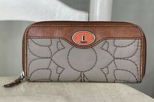 FOSSIL Women's Key Per Taupe Quilted Nylon Leather Zip Around Clutch Wallet