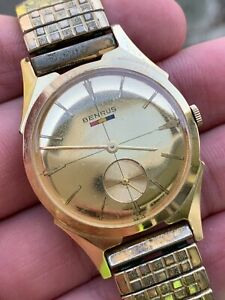 Benrus Men's Vintage Watch Gold Plated Dial and Case! Beautiful Watch! Working!