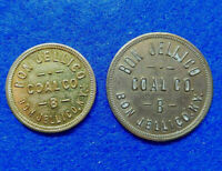 Coal Scrip Token Lot of 2: $.10 and .50, Bon Jellico Coal, Bon Jellico, Kentucky