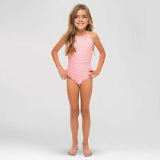 New Vanilla Beach Girls' 1-Piece Scallop Pastel Pink Striped Swimsuit, L (10/12)