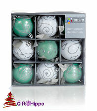 Christmas Tree Decoration - 60mm White & Green Baubles - 9 Shatterproof Baubles