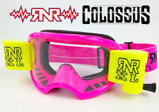 RIP N ROLL RNR COLOSSUS MOTOCROSS MX XL ROLL OFF GOGGLE enduro NEON PINK YELLOW