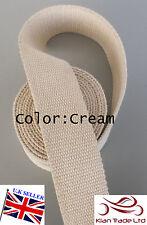 "Cream color 50mm 2"" CANVAS Rainforce cotton Webbing tape Bag Belt strap x 1Yard"