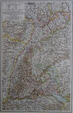 Victorian Mappa 1896 della GERMANIA-Il Granducato Di Baden il Times ATLAS 1st Gen