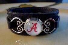 ALABAMA CRIMSON TIDE SNAP BUTTON genuine black leather bracelet Gifts women