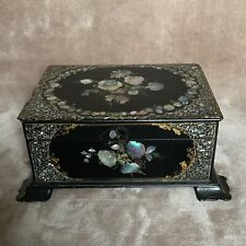 Victorian Black Lacquer Papier Mache Mother of Pearl Inlay Wood Box Tea Candy Wr