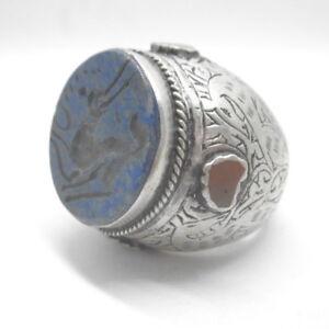 Islamic Mens Rings Lapis Stones 925 Sterling Silver Muslim Allah R08 aucsun