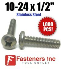 "(Qty 1000) #10-24 x 1/2"" Phillips Pan Head Machine Screw Stainless Steel"