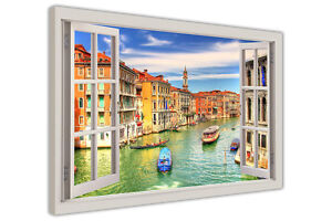 ICONIC VENICE GRAND CANAL 3D WINDOW VIEW FRAMED PICTURES CANVAS WALL ART PRINTS