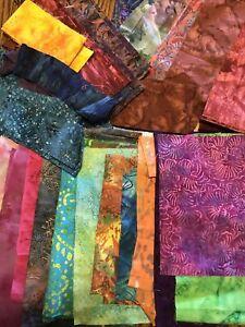 BATIK  Quilting   Fabric Scraps strips and scraps lots of different prints