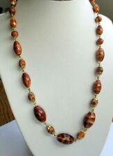 Exceptionnel ancien collier couleur or perles  œil de tigre bijou vintage 5250