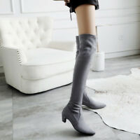 Women Fashion Faux Suede Med Heels Pointed Toe Over Knee Boots Shoes Size 33-45