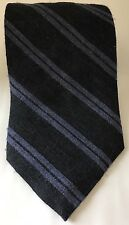 Vintage Bill Blass Men Neck Tie Striped Black Violet Diagonal Silk Blend
