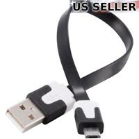 """5-Pack Short 7"""" Micro USB Data Charger Cable Samsung Nokia Motorola HTC LG Black"""
