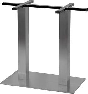Tischgestell Edelstahl Doppelsäule gebürstet