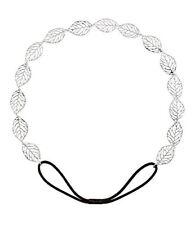 SIX  Summer  elastic hairband with filigree, silver leaves, Greek Goddess  252-8