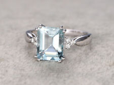 1.5ct Emerald Cut Blue Aquamarine Solitaire Engagement Ring 14k White Gold Over