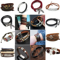 Punk Cool Men Unisex Wide Multilayer Leather Bracelet Cuff Wristband Bangle Gift