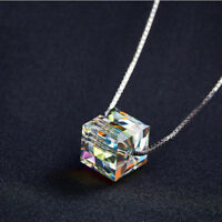 925 Sterling Silver Square Cut Sugar Rainbow Mystic Topaz Silver Charm Necklace