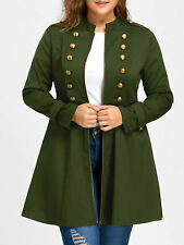 Women Fashion Plus Size Vintage Longline Coat Double Breasted Flare Coat Jacket