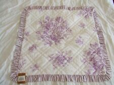 "Vhc Brands Purple Orchid Quilted Euro Ruffled Pillow Sham 26"" x 26"" ~ New <"