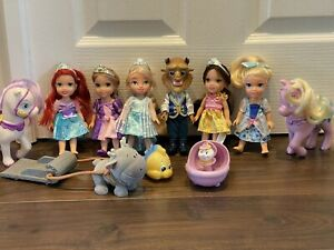 Disney jakks ANNA BELLE BEAST ARIEL petite small Princess Doll Come Play With Me