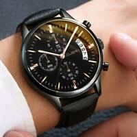 Fashion Sport Men's Stainless Steel Leather Band Date Quartz Analog Wrist Watch