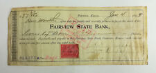 1899 Check Fairview State Bank Kansas R164 Revenue Stamp