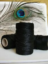 Black waxed linen thread, thickness of 2mm / 10 ply NATURAL waxed linen thread