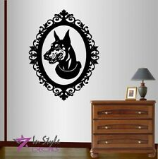 Vinyl Decal Doberman Dog in Antique Baroque Oval Frame Wall Sticker Decor 1387