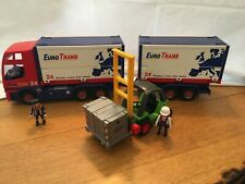 Playmobil Euro Trans City Car Truck And Removable Trailer #4323 with forklift!