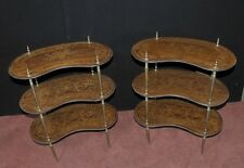 Pair Antique French Empire Shelf Unit Bookcase Kidney Bean Tier