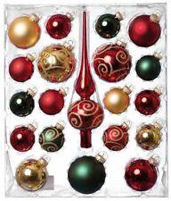 Weihnachtsbaumschmuck Glaskugelsortiment Rot Gold-Grün Spitze 20-teilig Saico