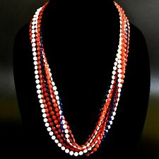 Vintage Patriotic Necklace Red White Blue Sm Faceted Flat Plastic Beads 50 Inch