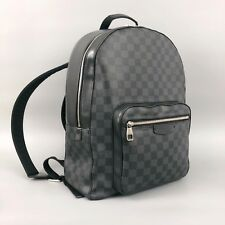 Louis Vuitton Men Josh Damier Monogram Logo Graphite Canvas Leather Backpack Bag