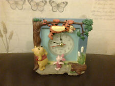 WINNIE THE POOH ALARM CLOCK 10CM SQUARED QUARTZ MOVEMENT RESIN PIGLET TIGGER