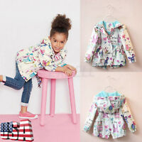 Baby Girl Graffiti Hooded Coat Outerwear Toddler Kids Windbreaker Jacket Clothes