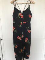Topshop Floral Strappy Jumpsuit Petite Size 14