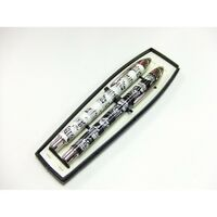 MUSIC Note Design Double PEN SET In Black & White Rollerball and Ballpoint Pen
