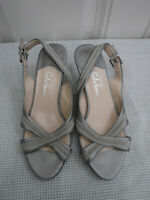 Women's COLE HAAN 6 B Silver Leather Ankle Strappy Formal Heels Open Toe Pumps