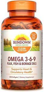 Sundown Triple Omega 3-6-9, Heart and Circulatory Health, 200 Softgels