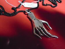"""Victorian mourning hand silver pendant Necklace with 27"""" black or silver chain"""