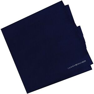 """NWT TOMMY HILFIGER Solid Navy Blue 100% Cotton Pocket Square 13.5"""" x 13.5"""""""