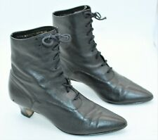 Vintage 80's Apostrophe Black Leather Lace Up Granny Ankle Boots - Size 8 1/2 M